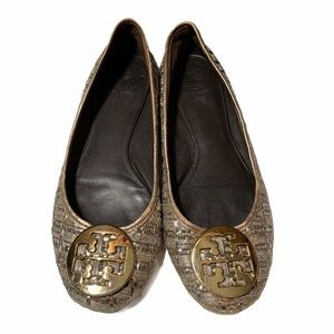 Tory Burch women's Straw gold silver flats size 10